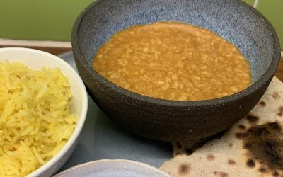 Slow cooked dhal with saffron rice